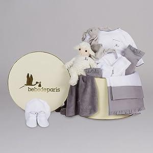 Canastilla regalo bebé en Caja Vintage Serenity Plena de BebeDeParis-Gris- set regalo recién nacido