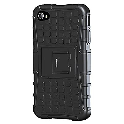 Korecase Tire iPhone 4 4S Case,Apple iPhone 4 Case,Armor Heavy Duty Protection Rugged Dual Layer Hybrid Shockproof Case Protective Cover for Apple iPhone 4 4S with Built-in Kickstand by Korecase