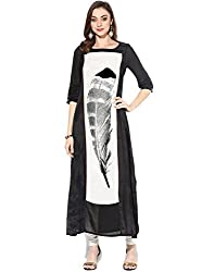 Granth Lifestyle Georgette Solid Bollywood Black Long Women's Kurti