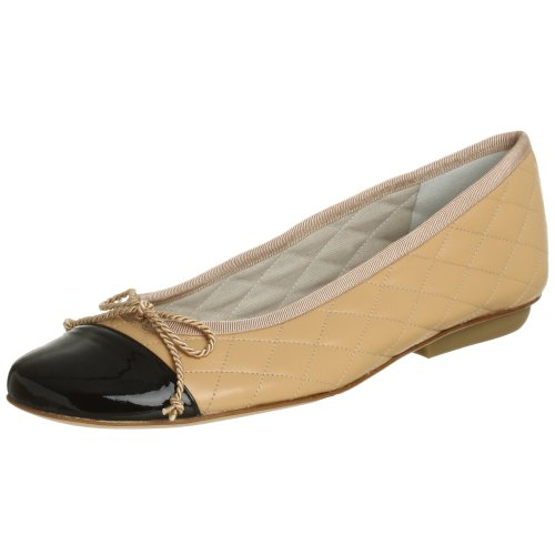 French Sole FS/NY Women's Passport Ballet Flat, Black Patent/Beige Leather, 9.5 M US