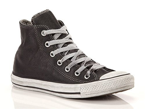 Converse, Donna, Chuck Taylor All Star Leather Limited Edition, Pelle, Sneakers Alte, Nero, 43 EU
