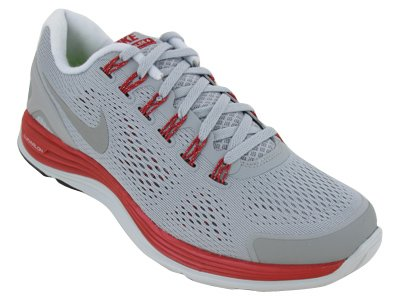 e1926787619d Nike Mens Lunarglide+ 4 Grey Silver Red 524977-005. View Large Image ...