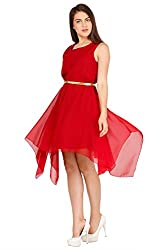 Pretty Angel Woman's Polygeorgette Dresses (X-Small, Maroon)