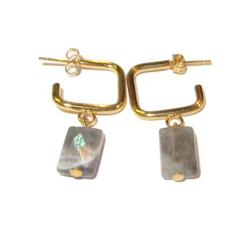Labradorite Earrings 12 Dangle Gemstone Facet Cut Gem Blue Gold Hoop 1.4