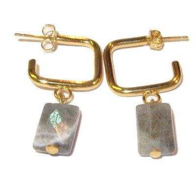 Labradorite Earrings 12 Dangle Gemstone Facet Cut Gem Blue Gold Hoop 1.4