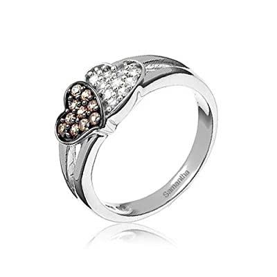 Mothers Day Jewelry Sterling Silver Pave CZ Coffee Two Hearts Ring