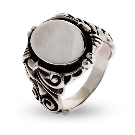 Ornate Scroll Design Sterling Silver Signet Ring Size 5 (Sizes 5 6 7 8 9 10 Available)