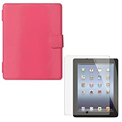 Smart Folio Book Cover Case for Apple iPad 2/3/4 (Pink) + Matte Screen