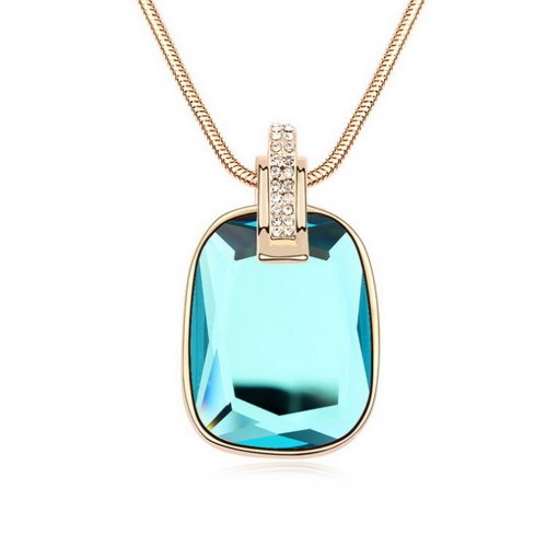 "Alvdis Fashion Jewelry Precious Stone Style Alloy Crystal Long Sweater Chain Pendant Necklace, 30"", Blue"