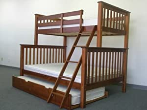 Bunk Bed Twin over Full Mission style in Expresso with Twin Trundle from Bedz King