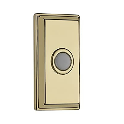 Baldwin BR7015 3 Inch x 1.62 Inch Rectangular Solid Brass Illuminated Bell Button