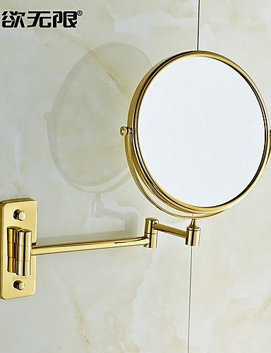 360 Degree Rotating 3X Magnifying 8-inch Solid Brass Cosmetic Mirror