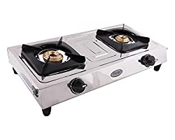 Prestige Star Stainless Steel 2 Burner Gas Stove, Metallic Silver