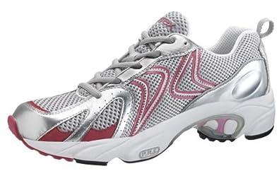 Aetrex Z589 Logo Running Shoe - Silver/Cranberry (Women's) Women's X-Wide 10.5