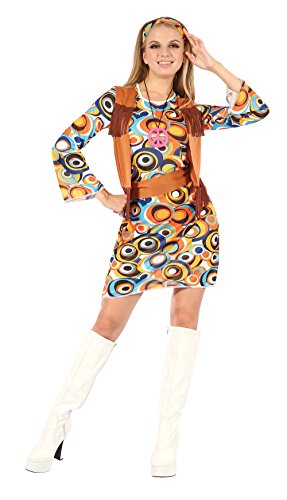Low-Cost Women's Hippy Pattern Dress with Headband, Belt and Necklace.  Standard Size 10-14.