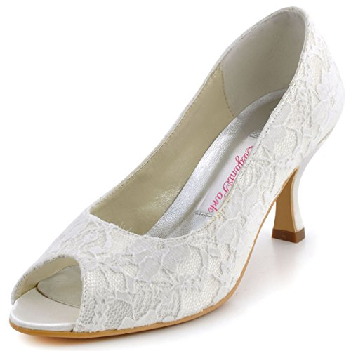 Elegantpark EP11013-25 Women Pumps Peep Toe Mid Heel Lace Satin Bridal Wedding Shoes Ivory US 6