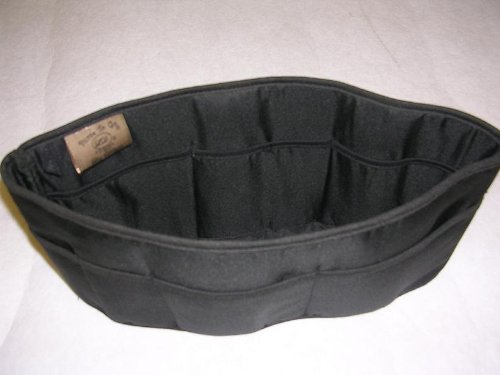Purse To Go® purse organizer insert transfer liner-ENCLOSED BOTTOM- BUCKET TYPE- Large size (12″L x 6″H x 3.5″W) (PP-Black)