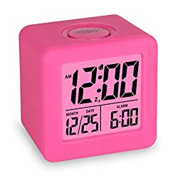 Plumeet Easy Setting Travel Alarm Clock with Snooze,Soft Nightlight,Cute Silicone Cover,Digital Alarm Clock Large Display Time & Month & Date & Alarm, Batteries Powered (Hot Pink)