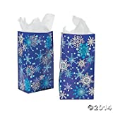 2 Dozen (24) Holiday SNOWFLAKE CHRISTMAS Paper Gift/GOODY Bags/PARTY FAVORS/STOCKING/COOKIES/Candy/Treats/SNOW Flake/BLUE & WHITE/WINTER