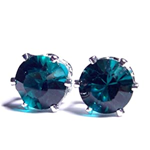 8mm Silver Plated Stud Earrings set with Sparkling Emerald Green Swarovski Crystal. Gift Box. Beautiful jewellery for very special people.
