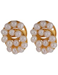 Chandrika Pearls' Gold Polished Fresh Water Real Pearl Earring With American Diamond For Women - B00R2GOXLW