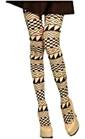 Black Beige Sexy Print Pattern Opaque Women Stockings Tights 7 designs XS ~ M