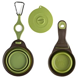 Dexas Popware for Pets Travel Water Cup, Food Scoop & Can Cover 3pc Set (Green)
