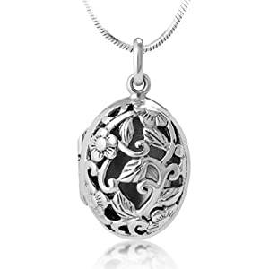 Chuvora Oxidized 925 Sterling Silver Open Filigree Floral Design Oval Shaped Locket Necklace 18''