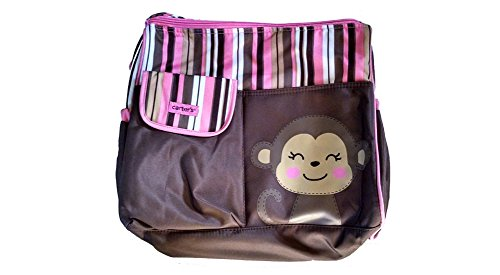 Carters Diaper Bag - Monkey in Brown and Pink Stripe - 1