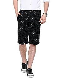 Showoff Men's Black Slim Fit Printed Casual Chino Shorts