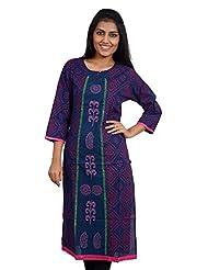 Anuradha Women's Cotton Self Print Blue Kurti - B00V4XLQ9Q