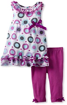 Young Hearts Girls 2-6X 2 Piece Polka Dotted Chiffon Capri Set, Purple, 2T