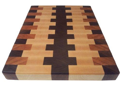 Armani Fine Woodworking End Grain Cutting Board - 9 x 12 x 1 - Walnut, Cherry, & Rock Maple