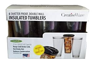 CreativeWare Insulated Tumblers with Lids, Set of 6 by CreativeWare