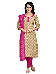 Shonaya Beige Colour Poly Cotton Printed Unstitched Dress Material