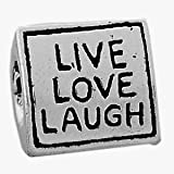 Believe Beads © 1 X Silver Plated Live Love Laugh on three sides Charm Bead will fit Pandora/Troll/Chamilia Style Charm Bracelet.
