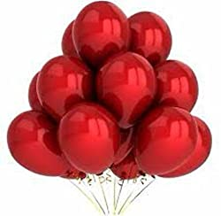 HKBalloons HK0221 Metallic Red Balloon(Red Pack of 50)Birthday Party Balloons-Party Decoration and Accessories
