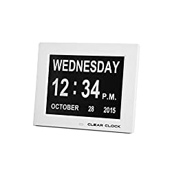 Clear Clock Extra Large Digital Memory Loss Day Clock with Non Abbreviated Day Dementia Clock, White