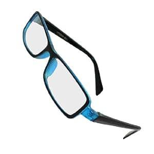Ladies Women Black Plastic Arms Clear Lens Full Rimmed Plain Glasses