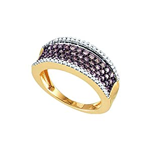 10kt Rose Gold Womens Round Cognac-Brown Colored Diamond Band Fashion Ring (.75 cttw.)