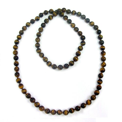 Pearlz Ocean Tiger's Eye 36-inch Knotted Necklace