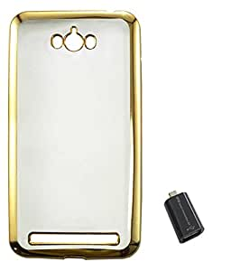 TBZ Transparent Electroplated Edges TPU Back Case Cover for Asus Zenfone Max ZC550KL with Micro USB OTG Connector Adapter -Golden