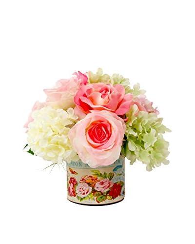 Creative Displays Hydrangea And Rose Decoupage Pot, Pink/Green/Crème