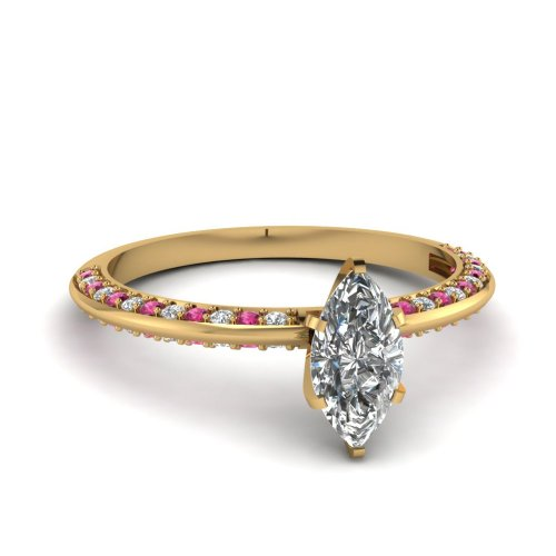 Fascinating Diamonds 1 Ct Knife Edge Marquise Cut Diamond & Pink Sapphire Engagement Ring Vs1 14K Gia