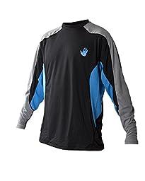 Body Glove Men\'s Performance Loose Fit Long Sleeve Shirt, Empire Blue/Black, X-Large