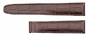 Herzog Louisiana watch strap watchband calf Leather Band brown for Cartier 20657, Band Width: 16mm