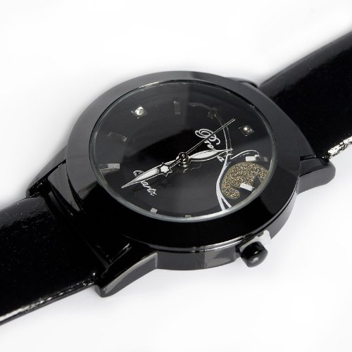 New Luxury Clock Quartz Hours Analog Dial Black Leather Women Wrist Watch