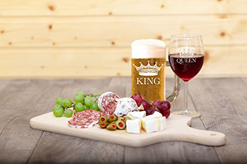 King Beer Queen Wine Etched Glass Set - Beer Mug - Wine Glasses - Beer Glass - Vino Glass - Gifts for Housewarming Wedding Newlyweds Mothers Fathers Couples Engagement Bachelor Bachelorette (2 Pack)