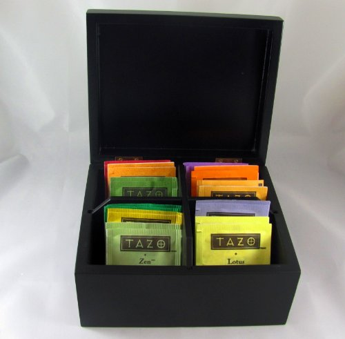 Elegant BLACK Tazo Tea Box, Wooden Tea Chest Includes 22 TAZO Tea Bags! 4 Compartment Sampler in 11 Assorted Flavors