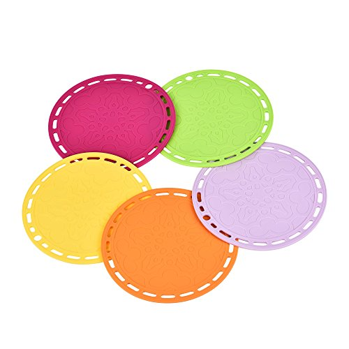 Newlemo 5 x Round Silicone Trivets Sets/Hot Pot Holders Silicone(7.87 Inch,5 Colors),Heat Resistant Pot Holders/Trivets Pads Non-Slip for Pots,Cups,Dishes,Dining Table,Kitchen